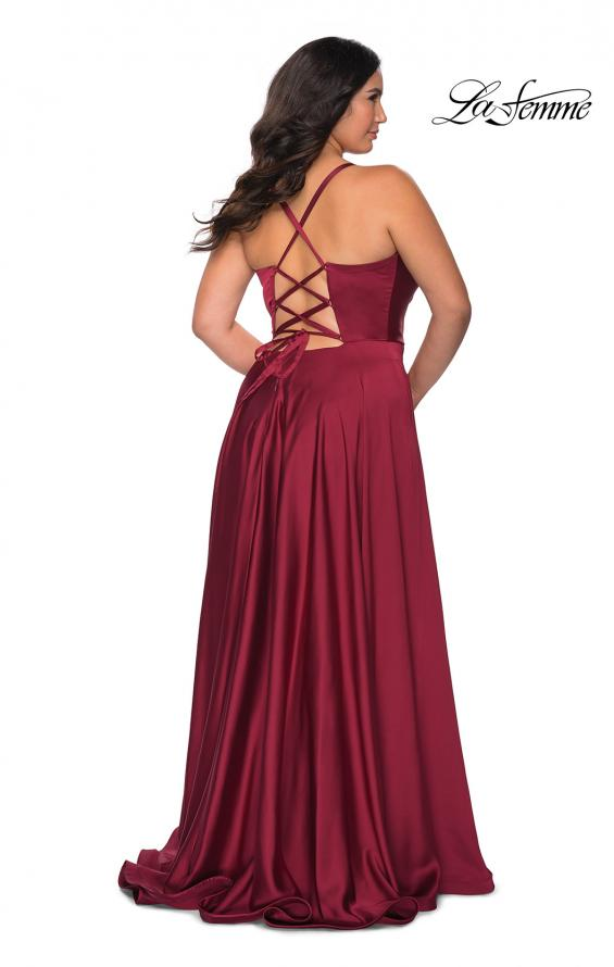 Picture of: Satin A-line Plus Dress with Lace Up Back and Pockets in Wine, Style: 29033, Main Picture