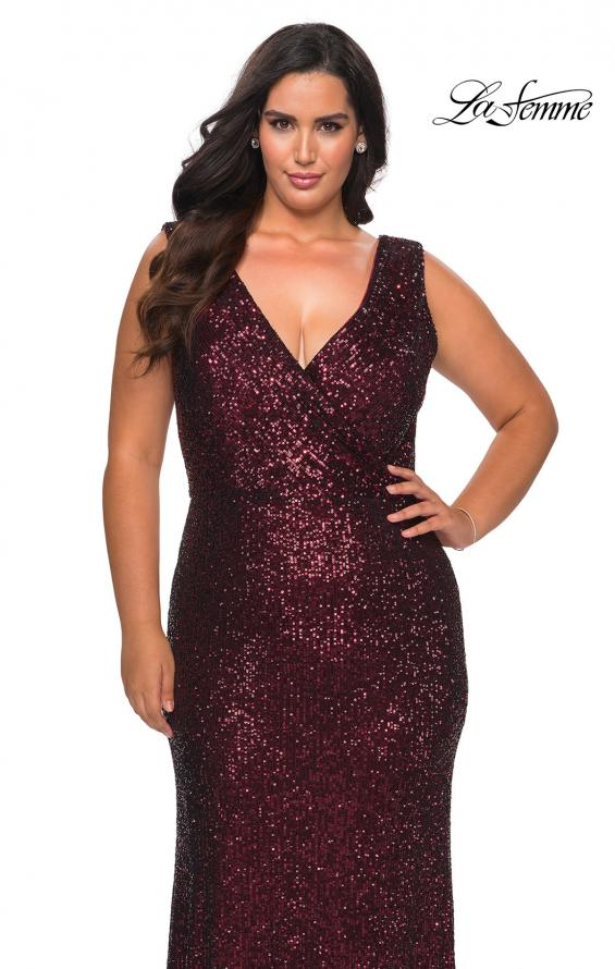 Picture of: Long Sequin Plus Size Prom Gown with V-Neck in Wine, Style: 28770, Detail Picture 8