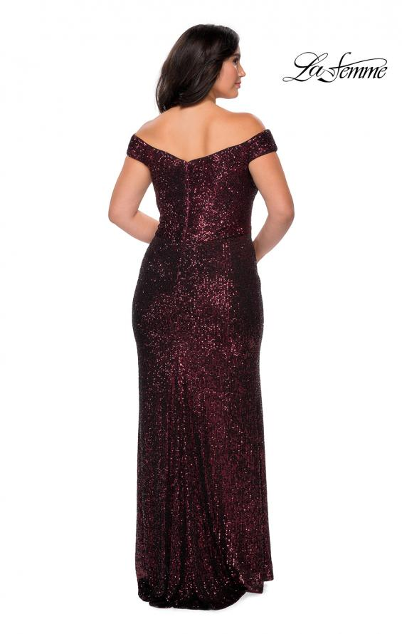 Picture of: Off The Shoulder Sequin Plus Size Prom Dress in Wine, Style: 28795, Detail Picture 8