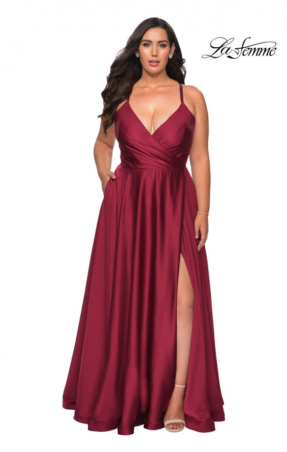 Picture of: Satin A-line Plus Dress with Lace Up Back and Pockets and Wine, Style: 29033, Back Picture
