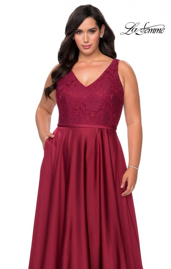 Picture of: A-line Plus Size Dress with Lace Sequin Bodice in Wine, Style: 29004, Detail Picture 1