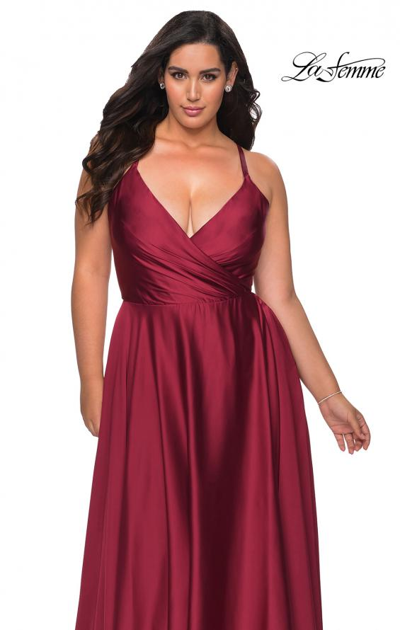 Picture of: Satin A-line Plus Dress with Lace Up Back and Pockets in Wine, Style: 29033, Detail Picture 1