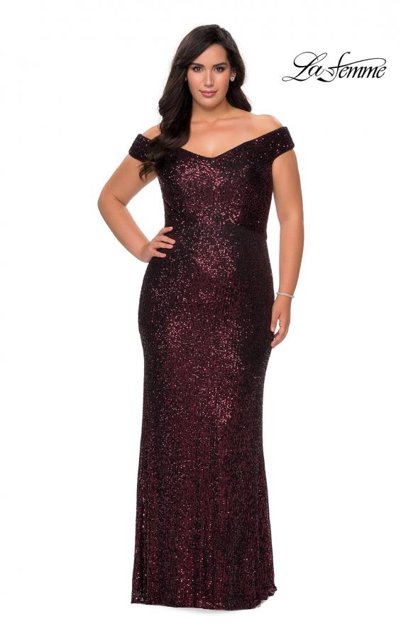Picture of: Off The Shoulder Sequin Plus Size Prom Dress in Wine, Style: 28795, Detail Picture 2