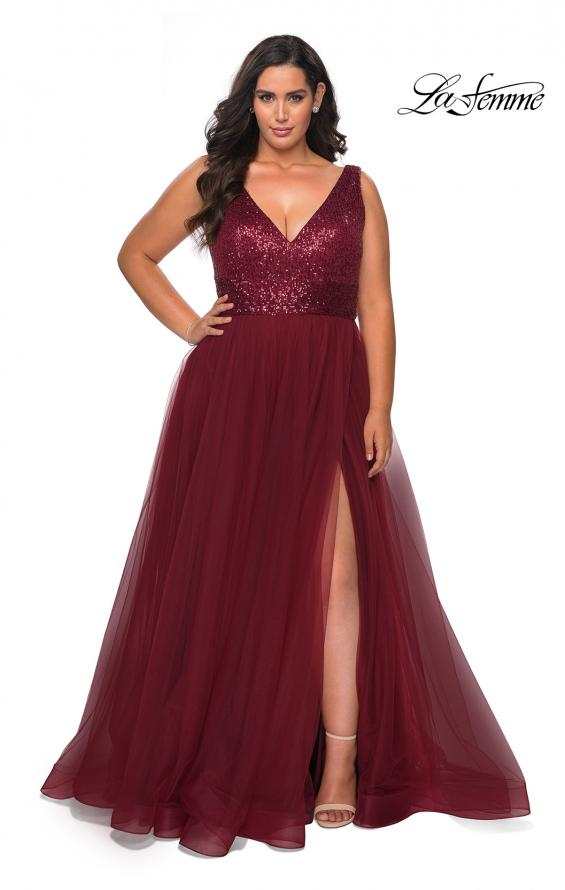 Picture of: Curvy A-line Prom Gown with Sequin Bodice and Tulle Skirt in Wine, Style: 29045, Detail Picture 2