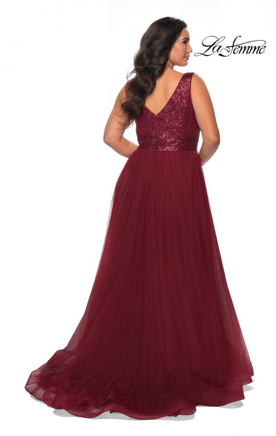 Picture of: Curvy A-line Prom Gown with Sequin Bodice and Tulle Skirt in Wine, Style: 29045, Detail Picture 3