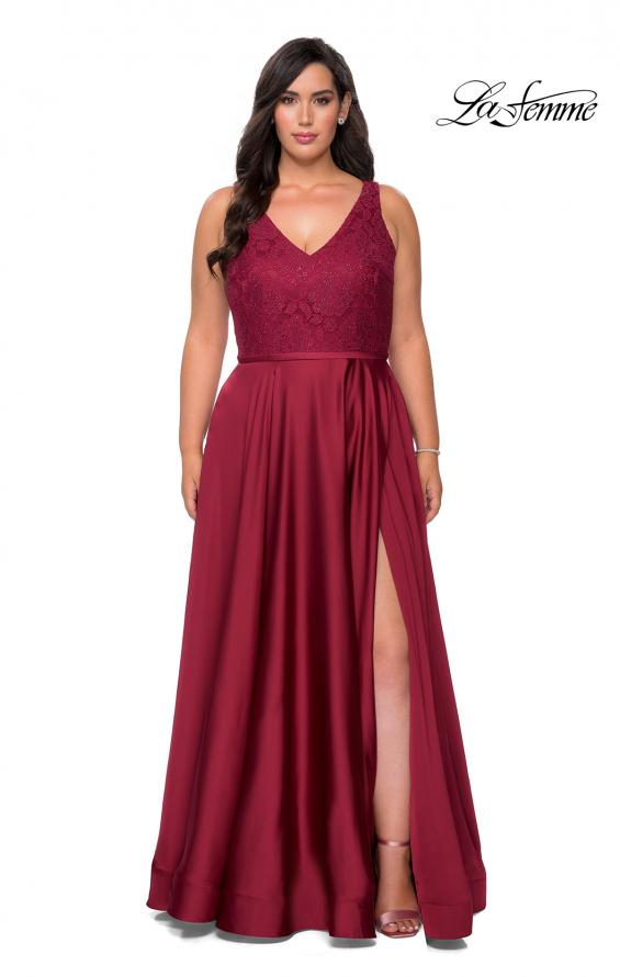 Picture of: A-line Plus Size Dress with Lace Sequin Bodice in Wine, Style: 29004, Detail Picture 4