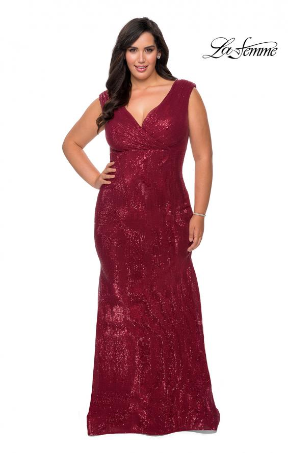 Picture of: Faux Wrap Bodice Sequin Plus Size Prom Gown in Wine, Style: 28962, Detail Picture 5