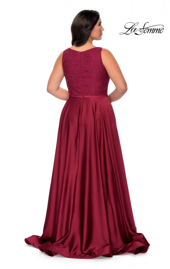 Picture of: A-line Plus Size Dress with Lace Sequin Bodice in Wine, Style: 29004, Detail Picture 5