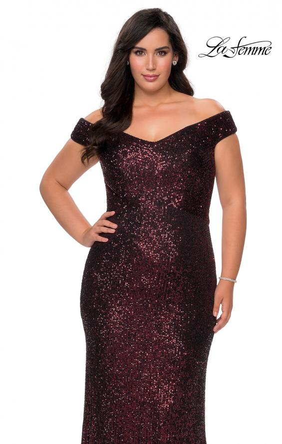 Picture of: Off The Shoulder Sequin Plus Size Prom Dress in Wine, Style: 28795, Detail Picture 7