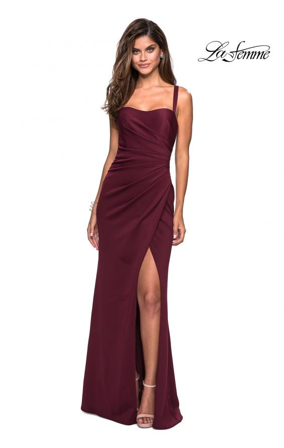 Picture of: Long Jersey Gown with Size Ruching and Slit in Wine, Style: 27470, Main Picture