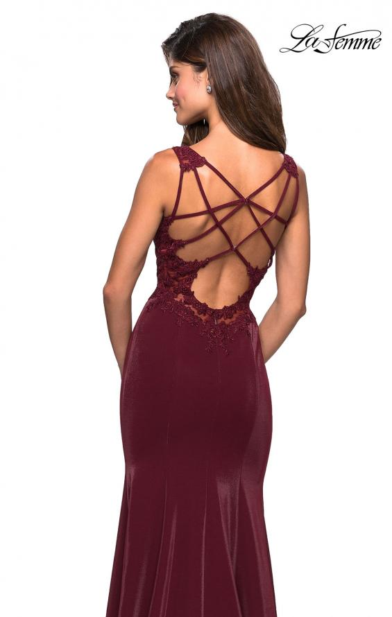 Picture of: Jersey Prom Dress with Strappy Back and Lace Accents in Wine, Style: 27474, Main Picture