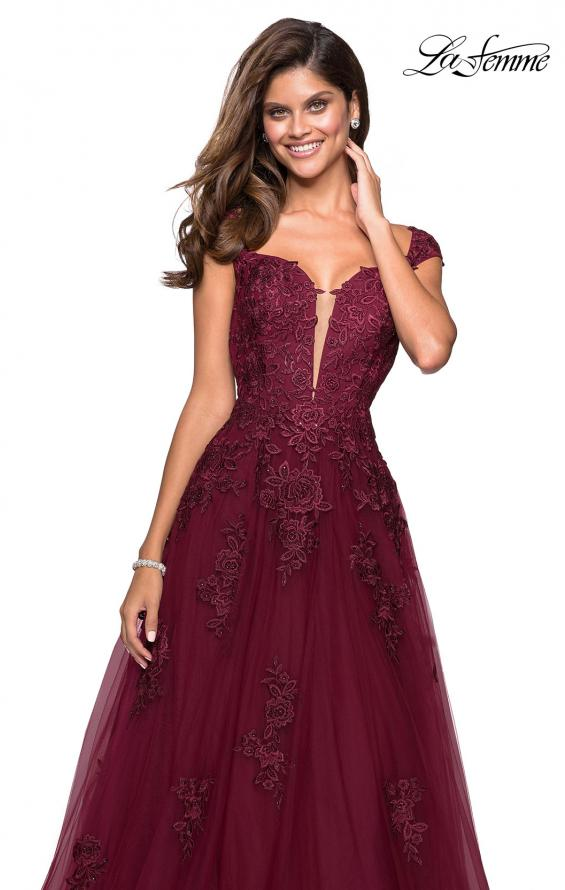 Picture of: Floor Length Cap Sleeve Prom Gown with Lace Detail in Wine, Style: 27503, Main Picture