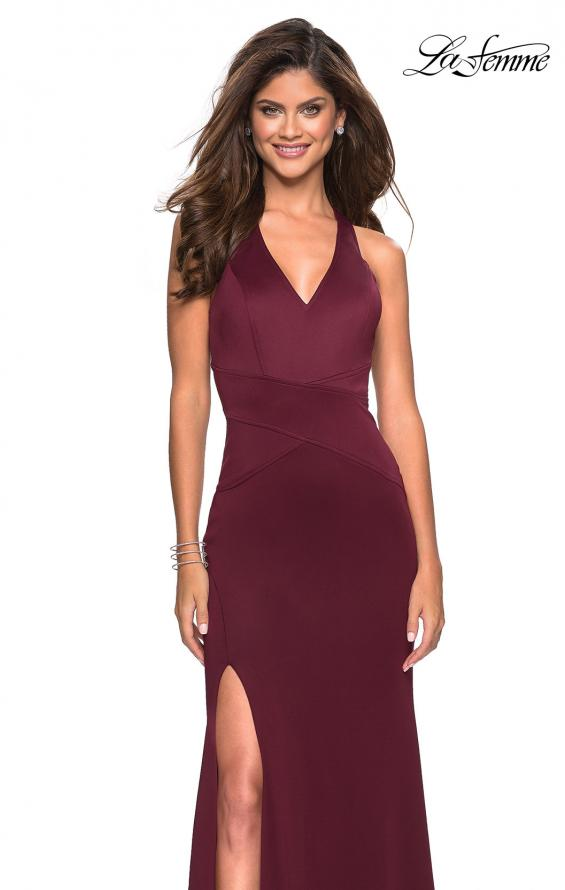 Picture of: Racer Back Jersey Form Fitting Prom Dress in Wine, Style: 27573, Main Picture
