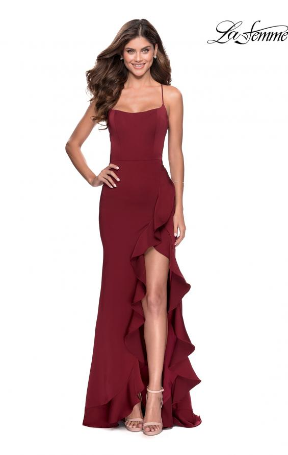 Picture of: Ruffle Prom Dress with Scoop Neck and Lace Up Back in Wine, Style: 28294, Main Picture