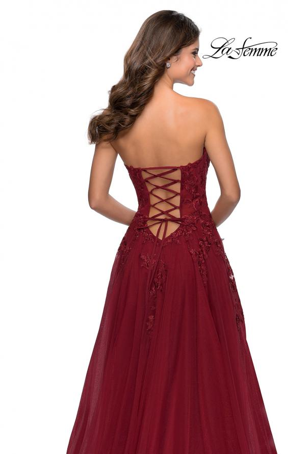 Picture of: Strapless Tulle Dress with Cascading Floral Detail in Wine, Style: 28599, Detail Picture 8