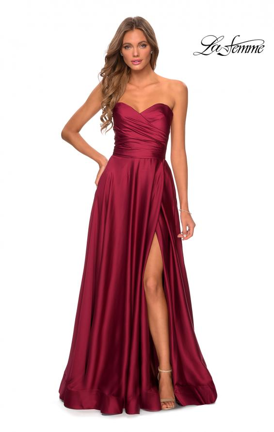 Picture of: Strapless Satin Gown with Pleated Bodice and Slit in Wine, Style: 28608, Detail Picture 8