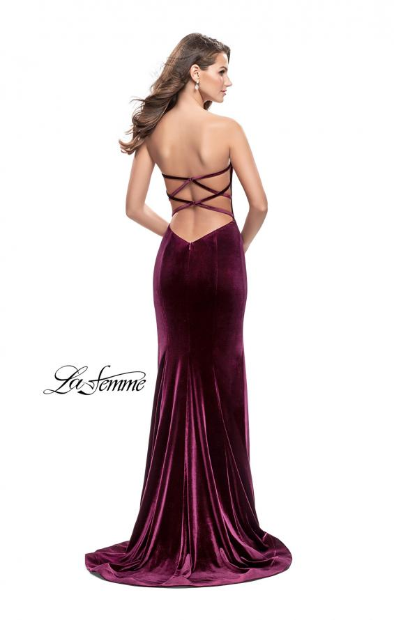 Picture of: Strapless Velvet Mermaid Dress with Strappy Back in Wine, Style: 25158, Back Picture