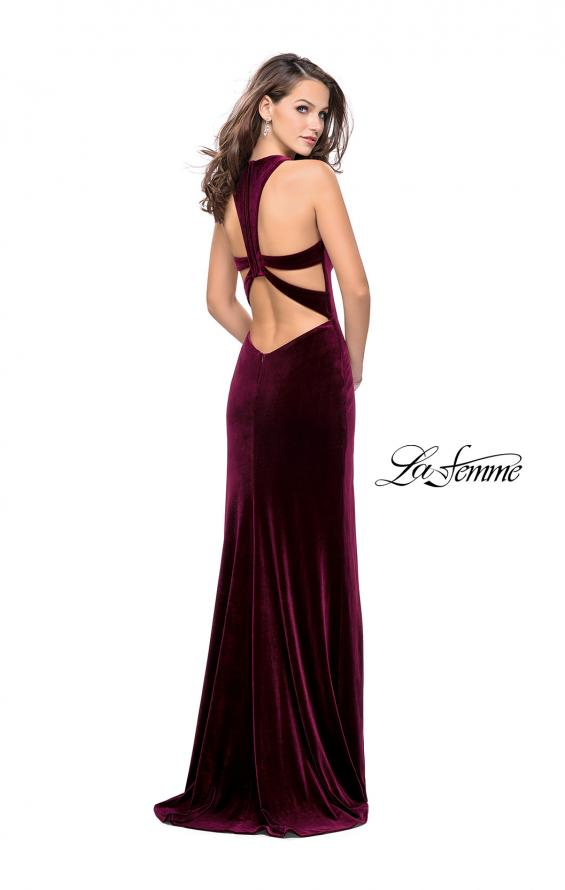 Picture of: Long Velvet Prom Dress with Deep V and Side Leg Slit in Wine, Style: 25363, Back Picture