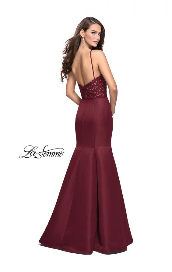 Picture of: Long Mermaid Prom Dress with Laser Cut Pattern Detail in Wine, Style: 25650, Back Picture