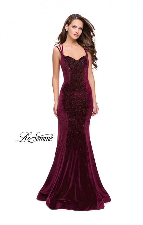 Picture of: Velvet Form Fitting Prom Dress with Intricate Back in Wine, Style: 25681, Back Picture