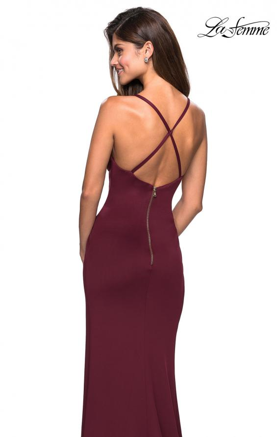 Picture of: Long Jersey Ruched Dress with Side Leg Slit, Style: 27317, Back Picture