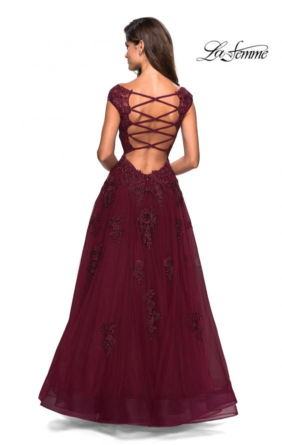 Picture of: Floor Length Cap Sleeve Prom Gown with Lace Detail in Wine, Style: 27503, Back Picture