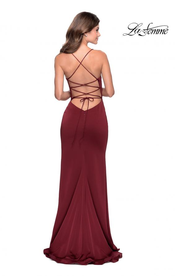 Picture of: Ruffle Prom Dress with Scoop Neck and Lace Up Back in Wine, Style: 28294, Back Picture