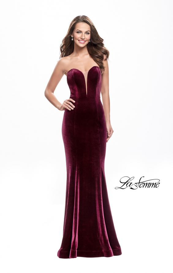 Picture of: Strapless Velvet Mermaid Dress with Strappy Back in Wine, Style: 25158, Detail Picture 1