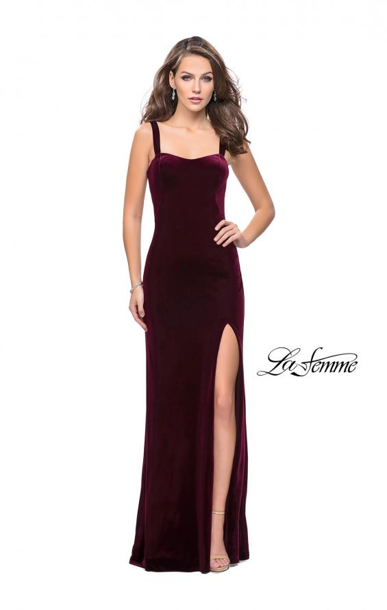 Picture of: Long Velvet Dress with Sweetheart Neckline in Wine, Style: 25375, Detail Picture 1