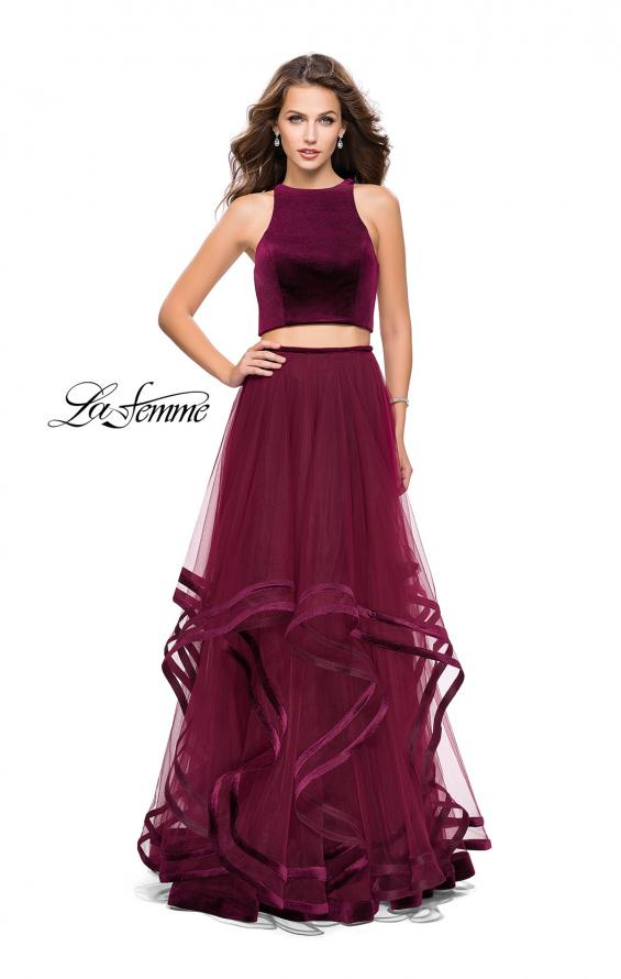 Picture of: Two Piece Tulle Gown with Velvet High Neck Top in Wine, Style: 25817, Detail Picture 1