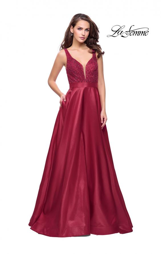 Picture of: Long Mikado Prom Dress with Beaded Bodice, Style: 26203, Detail Picture 1