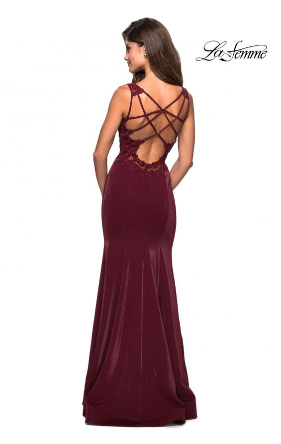 Picture of: Jersey Prom Dress with Strappy Back and Lace Accents in Wine, Style: 27474, Back Picture