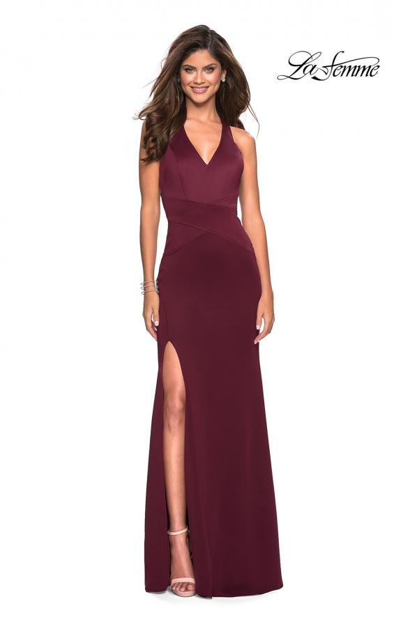 Picture of: Racer Back Jersey Form Fitting Prom Dress in Wine, Style: 27573, Detail Picture 1