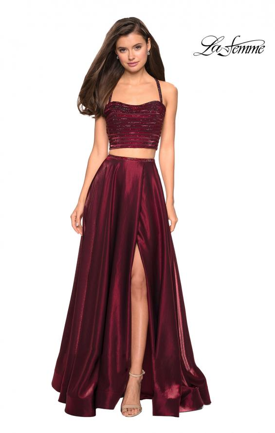 Picture of: Two PIece Satin Prom Dress with Rhinestone Top in Wine, Style: 27607, Detail Picture 1