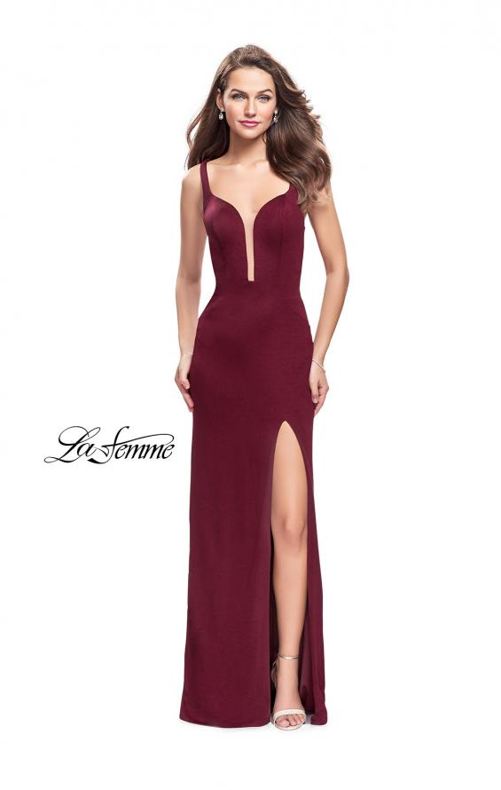 Picture of: Long Jersey Prom Dress with Caged Strappy Open Back in Wine, Style: 25720, Detail Picture 2
