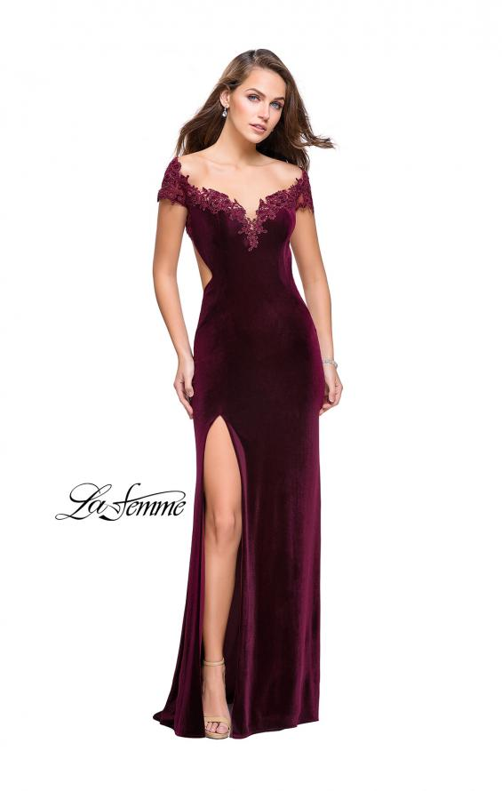 Picture of: Long Off the Shoulder Prom Dress with Beads and Lace in Wine, Style: 25823, Detail Picture 2