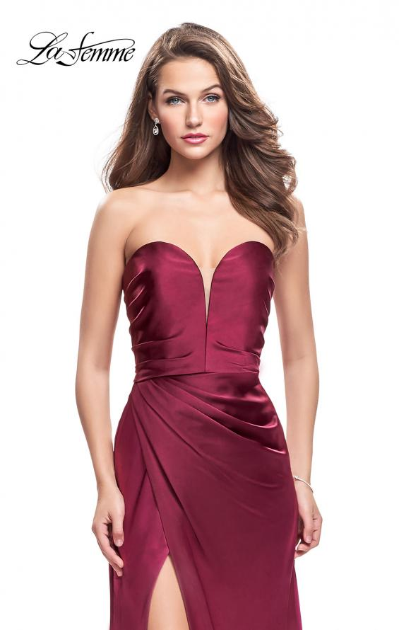 Picture of: Long Strapless Satin Prom Dress with Side Ruching, Style: 26017, Detail Picture 2