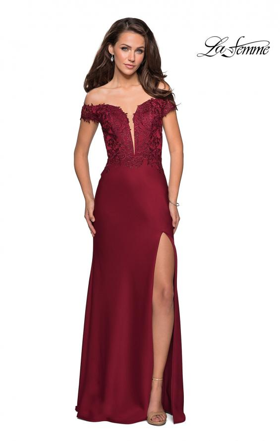 Picture of: Off The Shoulder Gown with Lace Bust and Slit in Wine, Style: 27097, Detail Picture 2