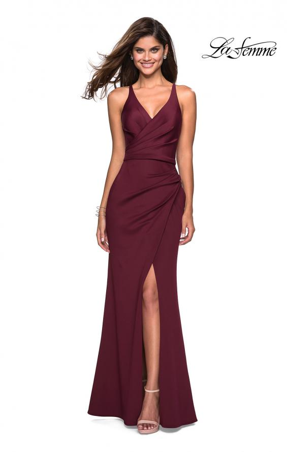 Picture of: Long Jersey Ruched Dress with Side Leg Slit, Style: 27317, Detail Picture 2