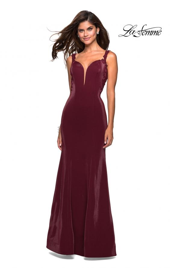 Picture of: Jersey Prom Dress with Strappy Back and Lace Accents in Wine, Style: 27474, Detail Picture 2