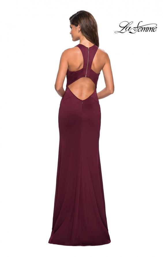 Picture of: Racer Back Jersey Form Fitting Prom Dress in Wine, Style: 27573, Detail Picture 2