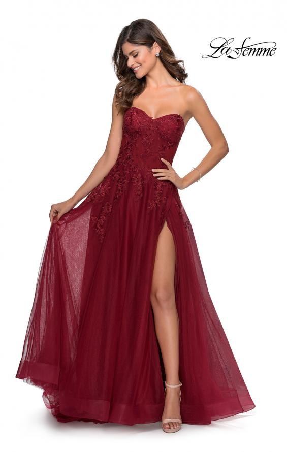 Picture of: Strapless Tulle Dress with Cascading Floral Detail in Wine, Style: 28599, Detail Picture 2