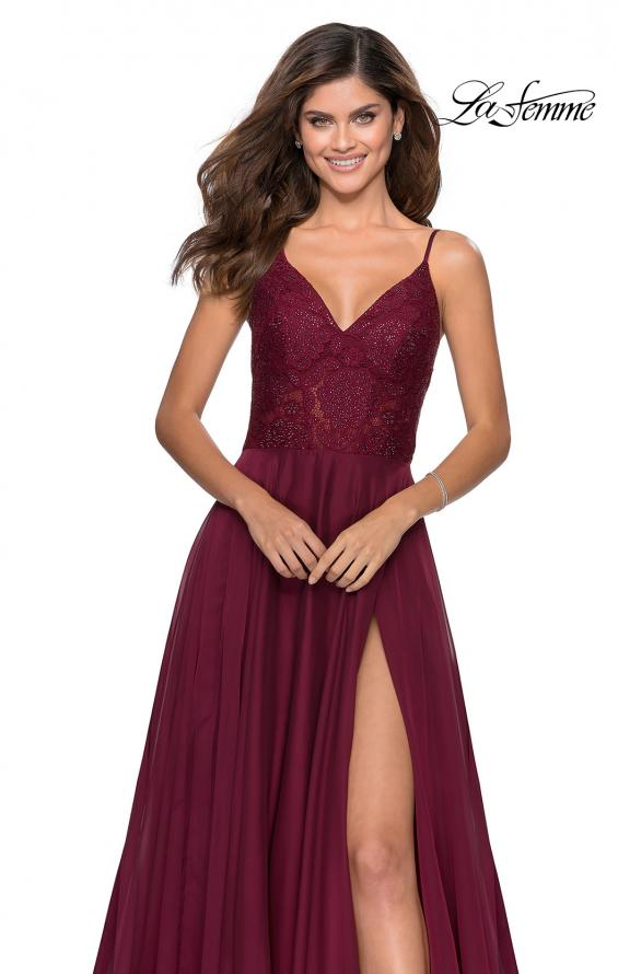 Picture of: Chiffon Prom Dress with Sheer Floral Lace Bodice in Wine, Style: 28664, Detail Picture 2