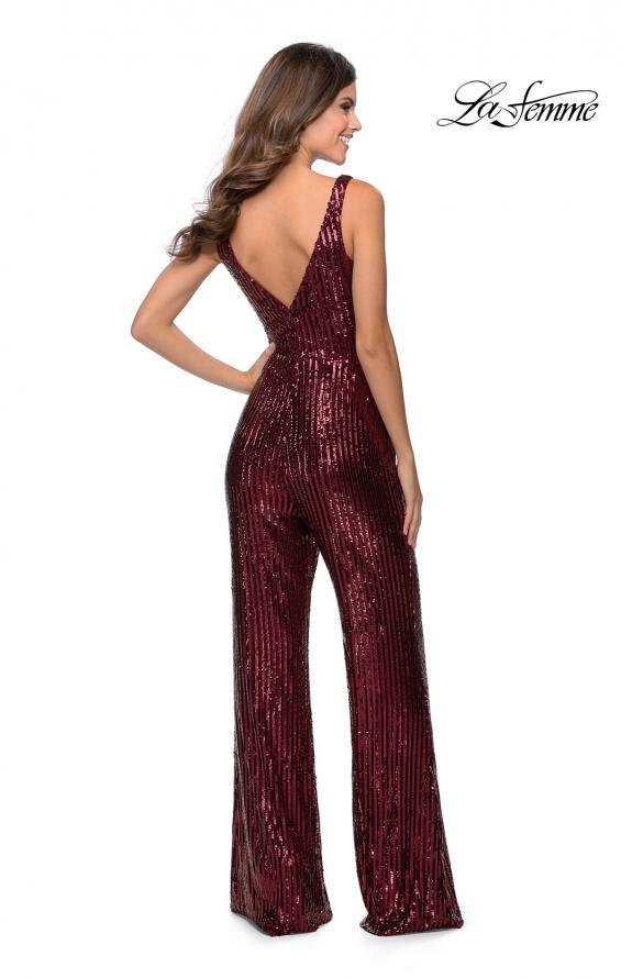 Picture of: Chic Sequin Jumpsuit with V-Neckline in Wine, Style: 28722, Detail Picture 2