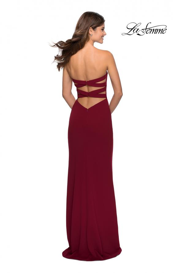 Picture of: Strapless Double Strap Long Jersey Prom Dress in Wine, Style: 28835, Detail Picture 2