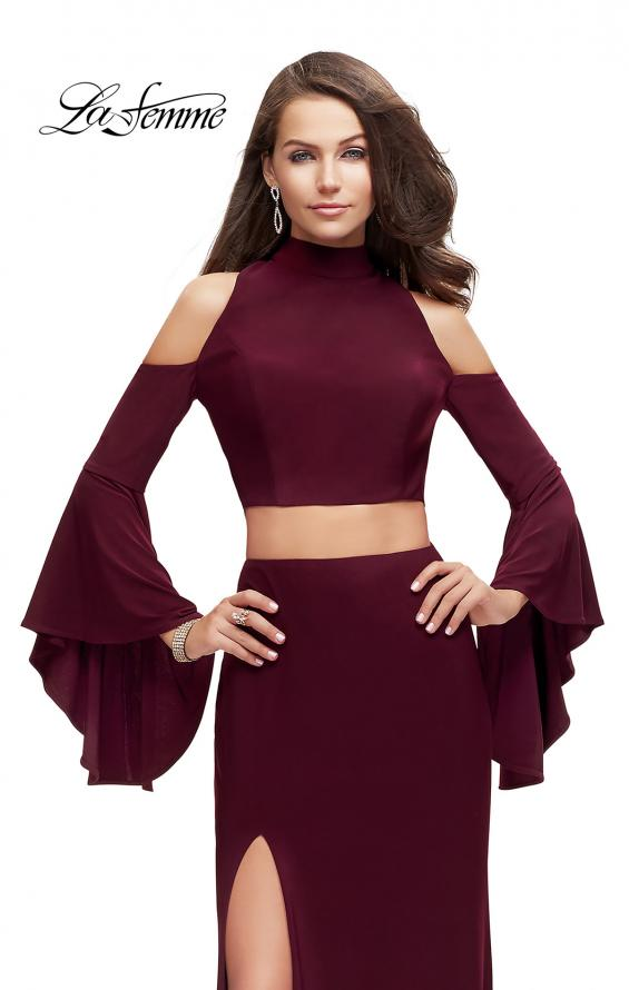 Picture of: Long Two Piece Dress with Cold Shoulders and Bell Sleeves, Style: 25353, Detail Picture 3