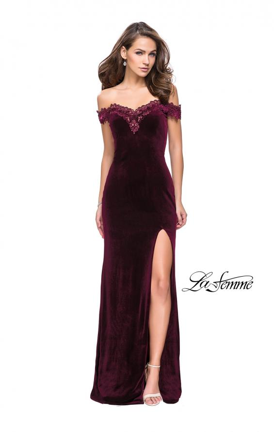 Picture of: Long Velvet Off the Shoulder Gown with Lace Detail in Wine, Style: 25591, Detail Picture 3