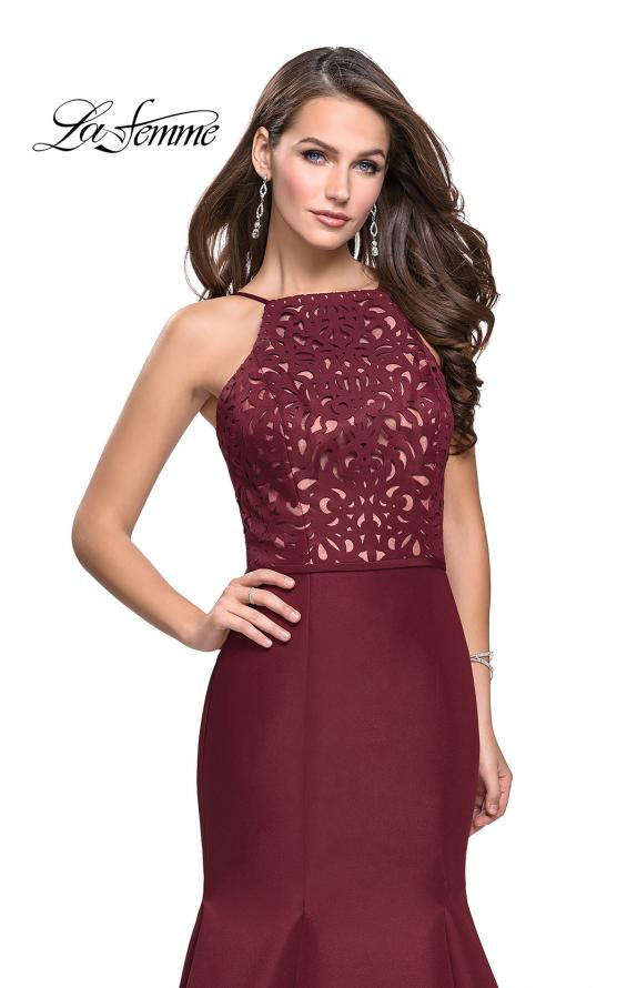Picture of: Long Mermaid Prom Dress with Laser Cut Pattern Detail in Wine, Style: 25650, Detail Picture 3