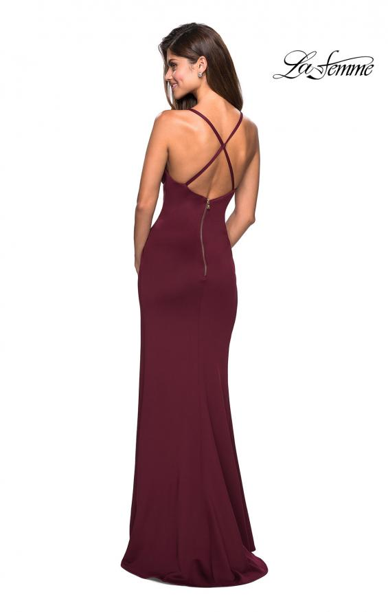 Picture of: Long Jersey Ruched Dress with Side Leg Slit, Style: 27317, Detail Picture 3