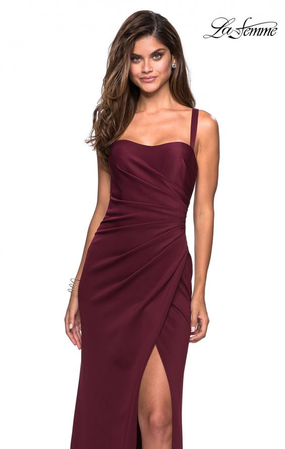 Picture of: Long Jersey Gown with Size Ruching and Slit in Wine, Style: 27470, Detail Picture 3